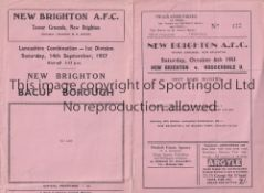 NEW BRIGHTON Two New Brighton home programmes v Rossendale United (first season after relegation