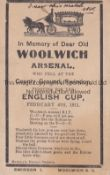 WOOLWICH ARSENAL In Memoriam Post Card for Woolwich Arsenal who were defeated by Swindon Town in the