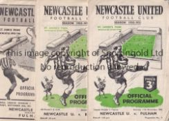 NEWCASTLE A collection of 34 Newcastle United home programmes (21) v Derby County (bus tickets taped
