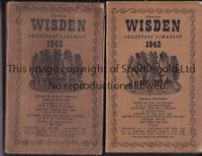 WISDEN Two John Wisden's Cricketers' Softback Almanacks from 1943 and 1946 (names written on the