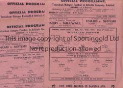 SPURS Seven Tottenham Hotspur single sheet home programmes from the 1945/46 season v Chelsea ,