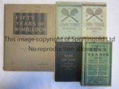 "TENNIS Five tennis books. ""The Game of Lawn Tennis"" 1890 , Lawn Tennis Handbook 1894 (Softback)and"