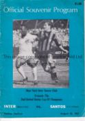 PELE Programme Inter Milan v Santos in New York 25/8/1967 in which Pele played for Santos. Some