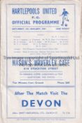 HARTLEPOOL / MAN UNITED Four page programme Hartlepools United v Manchester United 5/1/1957 FA Cup