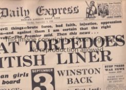 OUTBREAK OF WW2 Daily Express newspaper 4/9/1939 at the beginning of World War 2 announcing the