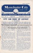 MAN CITY Four page home programme v Manchester United Manchester Senior Cup Semi Final 16/12/1953.