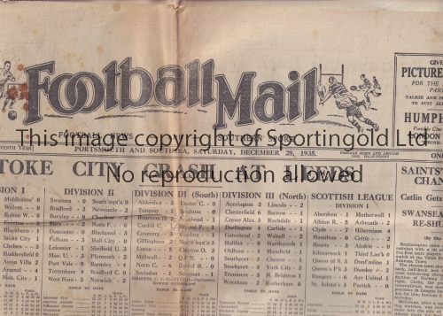 FOOTBALL NEWSPAPER 1935 Complete 6 page issue of the Portsmouth and Southsea Football Mail