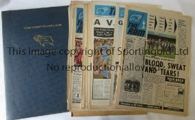 DERBY COUNTY Collection of Derby County newspaper style programmes, 22 x 72/3 in official binder, 31