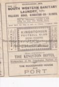 KINGSTONIAN V THE CASUALS 1929 Programme for the Casuals Cup tie at Kingston 11/9/1929, very