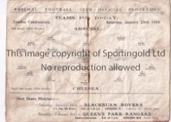 ARSENAL Home programme for the London Combination match v Chelsea 23/1/1926, creased. Fair