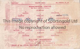 1945 FL NORTH WAR CUP FINAL 2ND LEG / MANCHESTER UTD. V BOLTON WANDS. Single sheet programme for the