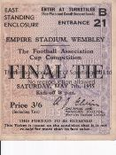 1955 FA CUP FINAL / NEWCASTLE UNITED V MANCHESTER CITY Ticket for Turnstile C. Generally good