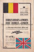 BELGIUM RED DEVILS V LONDON 1947 Programme for the match in Brussels 1/11/1947. Generally good