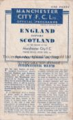 ENGLAND V SCOTLAND 1943 Programme for the International at Manchester City FC 16/10/1943. heavily