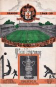 MANCHESTER UNITED Programme for the away League match v Wolves 8/4/1950, very slight vertical
