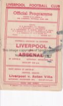 LIVERPOOL Home programme v. Arsenal 23/11/1946 in their Championship season. Score and ink marks