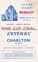 1943 FL SOUTH WAR CUP FINAL / ARSENAL V CHARLTON ATH. Programme for the match at Wembley 1/5/1943,