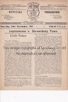 LEYTONSTONE V SHREWSBURY TOWN 1951 FA CUP Programme for the match at Leytonstone 24/11/1951,