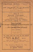 AYLESBURY UNITED V BERKHAMSTED TOWN 1933/4 Programme for the Spartan League match at Aylesbury