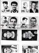 """1960'S FOOTBALL CARDS Forty five 3.75"""" X 2.75"""" black & white portrait picture cards with blank"""