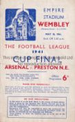 1941 WAR CUP FINAL / ARSENAL V PRESTON NORTH END Programme for the match at Wembley 10/5/1941, minor