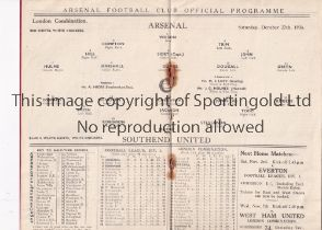ARSENAL Home programme for the London Combination match v Southend United 27/10/1934, staples rusted