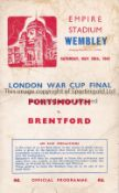 1942 LONDON WAR CUP FINAL / PORTSMOUTH V BRENTFORD Programme for the match at Wembley 30/5/1942,