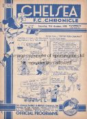 CHELSEA V ARSENAL 1938 Programme at Chelsea 15/10/1938. Not Ex Bound Volume. No writing. Generally