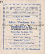 MANCHESTER UNITED Programme for the away Reserve team Central League match at Bolton 26/12/1946,