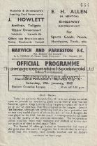 NORWICH CITY Programme for the away Eastern Counties League match v Harwich and Parkeston 29/1/1929,