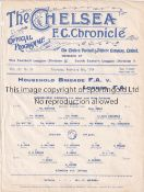 CHELSEA Single Sheet programme Household Brigade FA v London FA at Chelsea 5/2/1914. Ex Bound