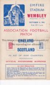 ENGLAND V SCOTLAND 1941 Programme for the International at Wembley 4/10/1941, very slightly