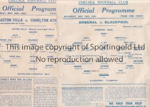 AT CHELSEA : 1943 & 1944 NORTH V SOUTH WAR FINALS Two single sheet programmes Arsenal v Blackpool
