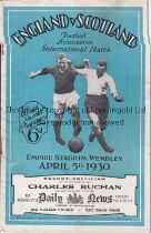 ENGLAND V SCOTLAND 1930 Programme for the International at Wembley, very slightly creased and very