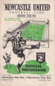 NEWCASTLE Home programme Reserves v Manchester United Reserves 26/3/1949. No writing. Fair to