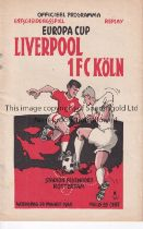 LIVERPOOL Programme for the European Cup Replay match v 1FC Cologne played in Amsterdam 24/3/1965.