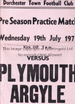 DORCHESTER TOWN V PLYMOUTH ARGYLE 1978 Scarce single sheet programme and match poster for the Pre-