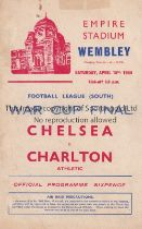 1944 FL SOUTH WAR CUP FINAL / CHELSEA V CHARLTON ATH. Programme for the match at Wembley 15/4/