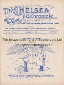 CHELSEA WOOLWICH ARSENAL 1907 Programme (gatefold) at Chelsea 9/11/1907. Not Ex Bound Volume. Some