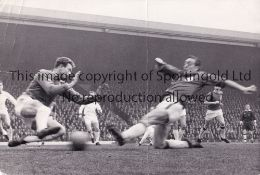 LIVERPOOL V MANCHESTER UNITED 1964 Two original B/W Press photos from the match at Anfield 4/4/1964,