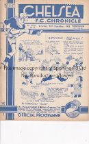 CHELSEA Programme for the home League match v. Liverpool 24/12/1938. Generally good