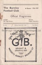 BURNLEY V COVENTRY CITY 1937 Programme for the League match at Burnley 26/3/1937, rusty staples