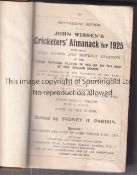 WISDEN ALMANACK 1925 Rebound in brown leather and cloth hardback, lacking covers. Generally good