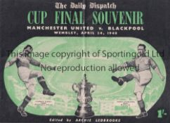 1948 FA CUP FINAL / MANCHESTER UNITED V BLACKPOOL The Daily Dispatch Cup Final Souvenir, vertical