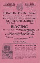 HEADINGTON UNITED Programme for the away Metropolitan League match v Hastings United 9/10/1954, very