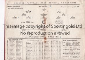 ARSENAL Home programme for the London Combination match v Queen's Park Rangers 10/2/1934, staples