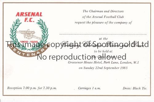 ARSENAL Blank Invitation Card for the Centenary Dinner and Dance at the Grosvenor House Hotel 22/9/
