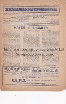 HAYES V BROMLEY 1951 Programme for the Amateur Cup match at Hayes 10/2/1951, minor paper loss slight