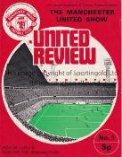 "MAN UNITED Regular 12 Page Programme "" The Manchester United Show"" 9/6/1972. United Review programme"