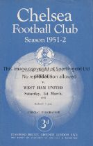 CHELSEA V WEST HAM UNITED 1952 Four page programme for the Eastern Counties League match at Stamford